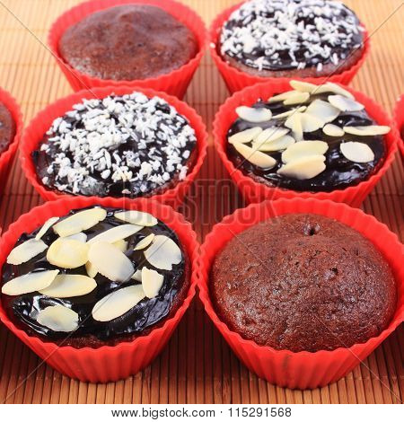 Chocolate Muffins With Desiccated Coconut And Almonds