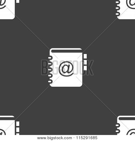 Notebook, Address, Phone Book Icon Sign. Seamless Pattern On A Gray Background.