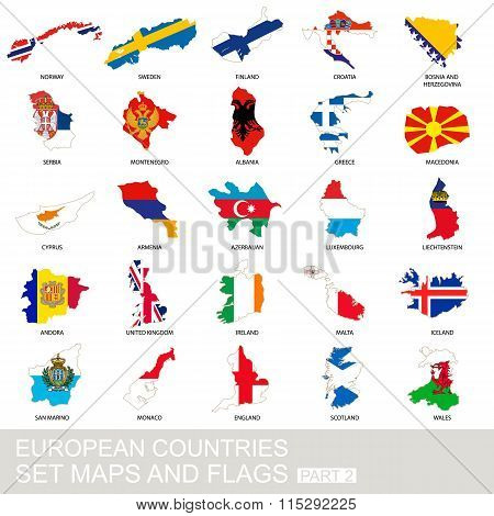 European Countries Set, Maps And Flags