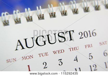 Close up calendar of August 2016