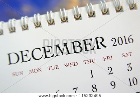 Close up calendar of December 2016