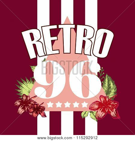 Retro triangle illustration vector with numbers print and slogan