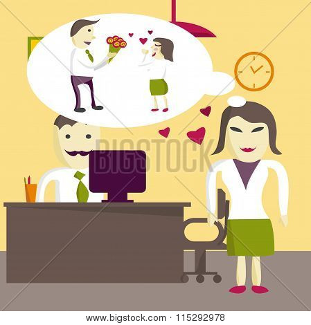 Love In Office. Woman Manager Wants To Receive A Gift Of A Bouqu