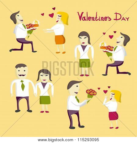 Set Vector Illustration Isolated On The Theme Of Valentine's Day