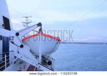 The image of life-boats on a ship