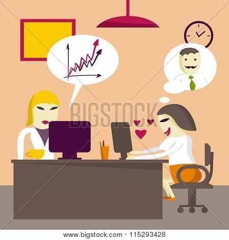 Loving businesswoman rewritten with a man in the workplace. Flat