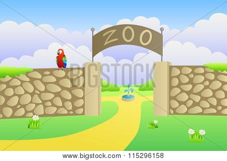 Zoo entrance summer landscape day illustration vector