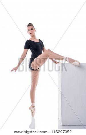 Beautiful young ballerina rehearsing in studio