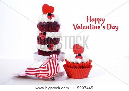 Triple Layer Red And White Valentine Cupcake