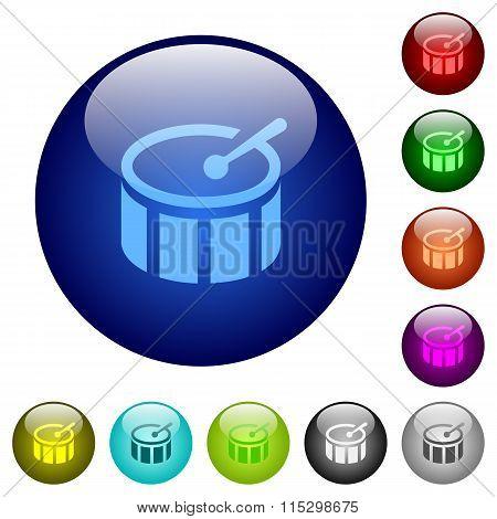 Color Drum Glass Buttons