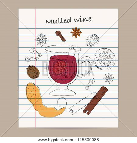 Mulled Wine Ingredients Sketch Drawing Set On Lined Paper