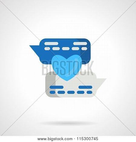 Flat blue love message vector icon