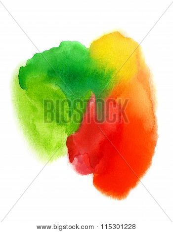 Bright Watercolor Blurred Spots On White