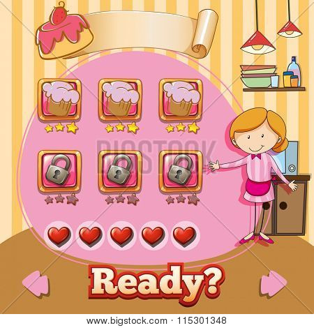 Game template with baker and cake background illustration