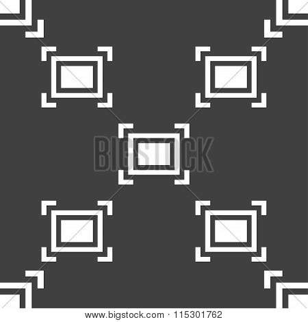 Crops And Registration Marks Icon Sign. Seamless Pattern On A Gray Background.