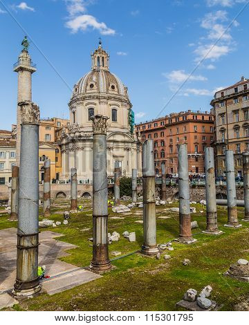 Trajan's Forum (foro Di Traiano) And Trajan's Column