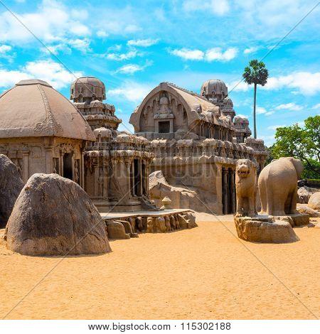 Ancient Hindu Monolithic Indian Rock-cut Architecture Pancha Rathas - Five Rathas, Mahabalipuram, Ta