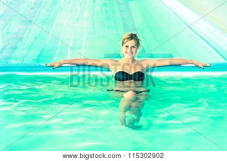 Beautiful Woman In Clear Water Looking At Camera - Young Girl Swimming Pool At Exclusive Resort - Me