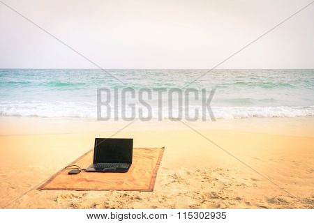 Computer Laptop At The Beach On Tropical Destination - Concept Of Internet Connection And Technology