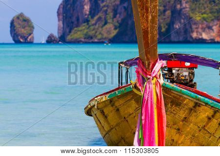 Long boat and tropical beach, Andaman Sea,Phi Phi Islands, Thailand