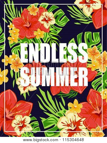 Tropical Background with Endless Summer Lettering