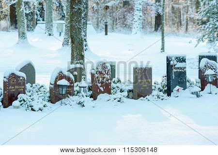 Headstones In Snow