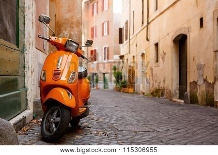 Old city street in Rome, Italy.