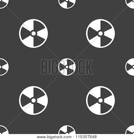 Radioactive Icon Sign. Seamless Pattern On A Gray Background.