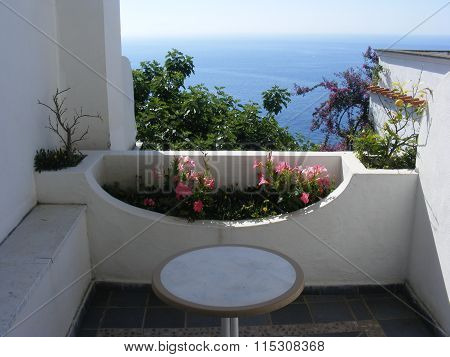 Small terrace overlooking Amalfi coast, Italy, Europe