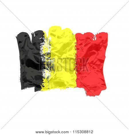 Belgian flag painted by brush hand paints. Art flag. Belgium