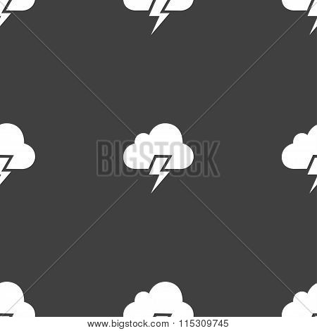 Heavy Thunderstorm Icon Sign. Seamless