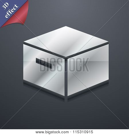Packaging Cardboard Box Icon Symbol. 3D Style. Trendy, Modern Design With Space For Your Text