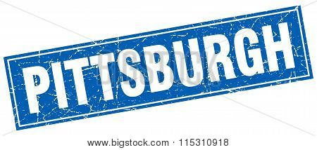 Pittsburgh blue square grunge vintage isolated stamp