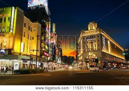 TOKYO JAPAN - NOVEMBER 17 2015: Asakusa Station is built in Ekimise building it links Tobu line to Tokyo Skytree the building is also a grand shopping destination in Asakusa - Taito area