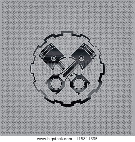 Pistons In A Gear On Metal Background