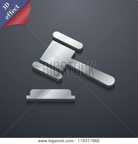 Judge Or Auction Hammer Icon Symbol. 3D Style. Trendy, Modern Design With Space For Your Text