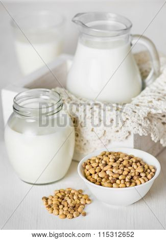 Soy milk in a glass and jar