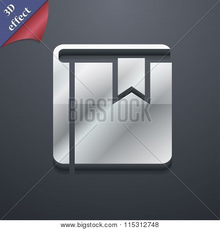 Book Bookmark Icon Symbol. 3D Style. Trendy, Modern Design With Space For Your Text