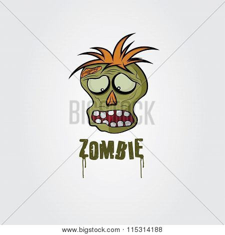 Cartoon Zombie Face Vector Design Template