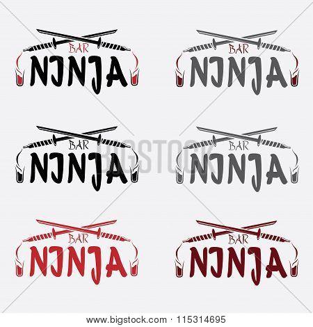 Ninja Bar Concept Vector Design Template