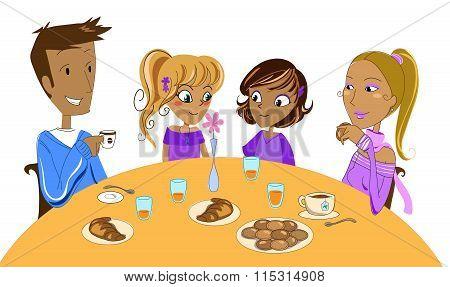 Family at breakfast vector