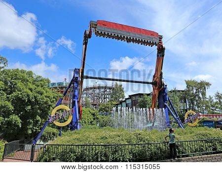 Amusement Rides In The Amusement Park In Helsinki