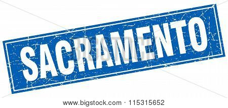 Sacramento Blue Square Grunge Vintage Isolated Stamp