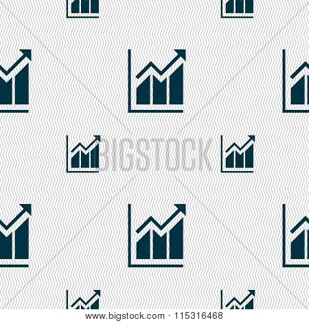 Growing Bar Chart Icon Sign. Seamless Pattern With Geometric Texture.