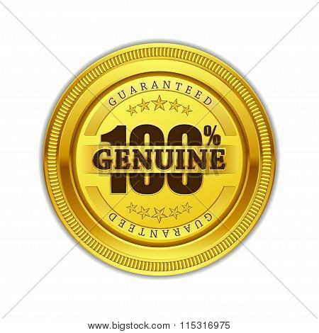 Genuine Quality Gold Seal Vector Icon