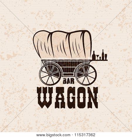 Wagon Western Bar Grunge Concept Vector Design Template