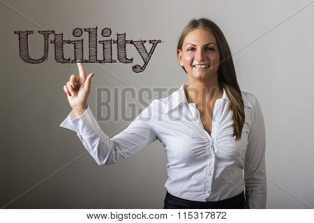 Utility - Beautiful Girl Touching Text On Transparent Surface