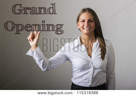 Grand Opening - Beautiful Girl Touching Text On Transparent Surface