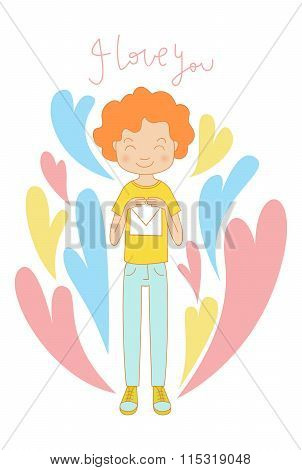 Valentine's Day Love Card Background, Boy With A Letter
