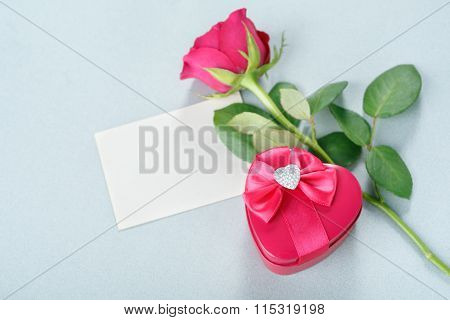 Blank Greeting Card, Gift And Rose